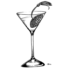 Drawing of a pastie in a coctail drink