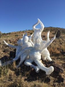 Plastic wrap sculpture on Hancock Hill Alpine Tx 2016