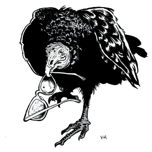 Drawing of buzzard holding eye glasses in beak