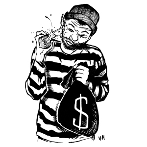 Drawing of robber Dunning-Krugger holding a bag of money and sqeezing lemon