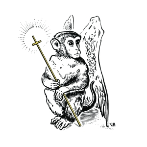 Drawing of a seated monkey with wings holding a cross