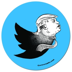 Twitter logo with Trump face and tie